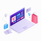 Laptop Isometric 3D flat design vector illustration. Online shopping concept icons isolated on white background with infographic elements, computer, shopping bag, credit card, item, money and wallet.