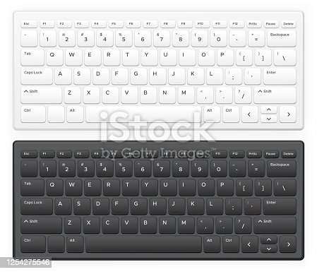 istock Laptop keyboard. Notebook computer keys with english latin alphabet qwerty buttons keypad Realistic vector isolated template 1254275546