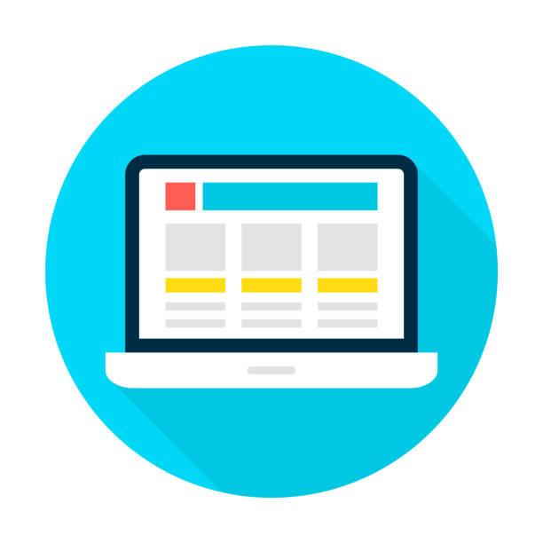 ノートパソコンのランディングページサークルアイコンフラット - webサイト点のイラスト素材/クリップアート素材/マンガ素材/アイコン素材