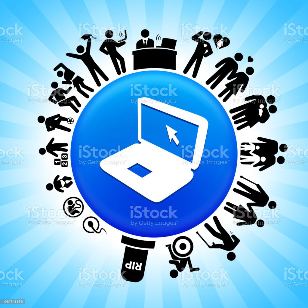 Laptop  Lifecycle Stages of Life Background - arte vettoriale royalty-free di Adolescente
