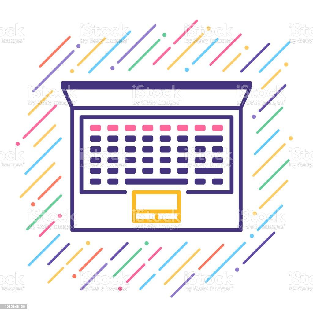 Laptop Line Icon vector art illustration