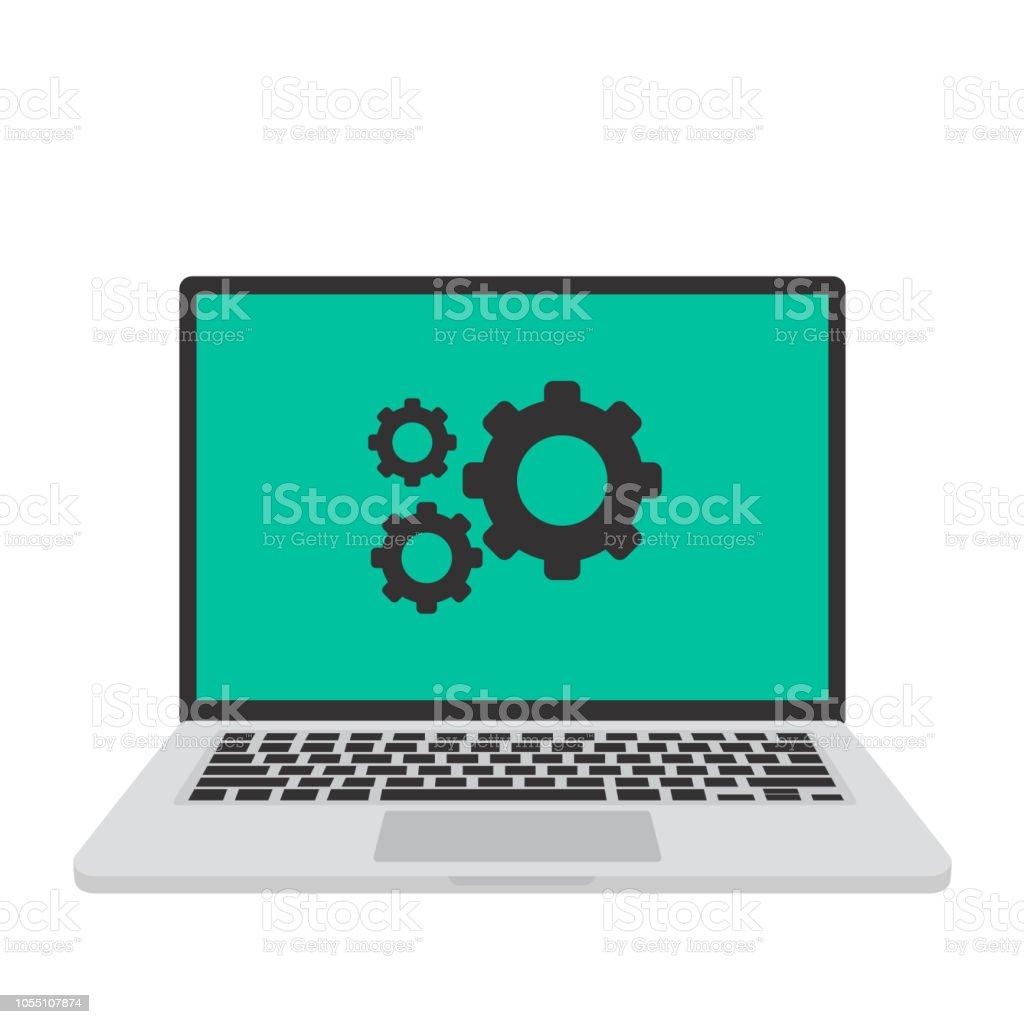 ノート パソコンの Macbook設定画面ベクトル イラスト つながりの