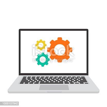 istock Laptop, macbook, settings screen, computer vector illustration 1055107942