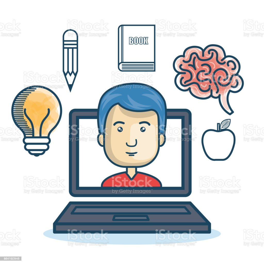 laptop man education online concept royalty-free laptop man education online concept stock vector art & more images of adult