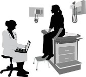 A vector silhouette illustration of a female doctor reviewing a patient's medical history on her lap top while the young female patient sits on the exam table.