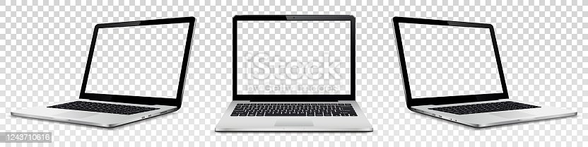 istock Laptop mock up with transparent screen isolated 1243710616