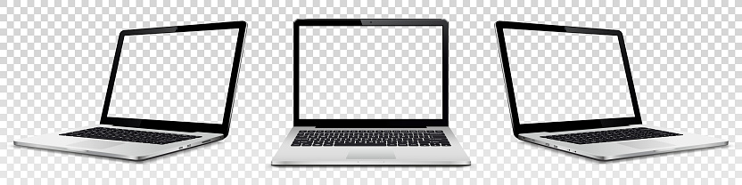 Set of vector laptops with transparent screen isolated on transparent background. Perspective and front view with blank screen.