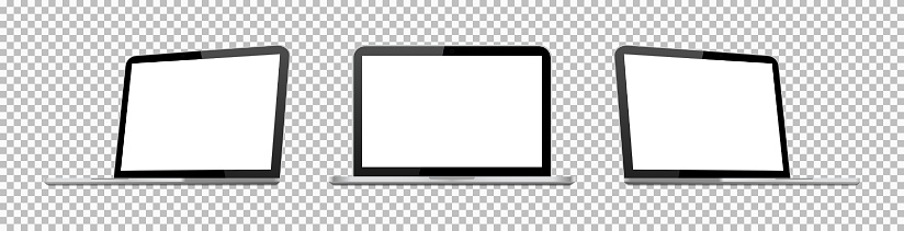 Laptop mockup. Computer with screen isolated on transparent background. 3d pc of air, pro. Isometric notebook. Top of branding. Open blank monitor in front. Gray device for users of website. Vector