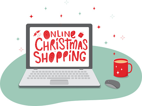 Laptop, mouse, sign on the screen - online Christmas shopping. Vector stock illustration isolated on white background for web shop design. EPS10.