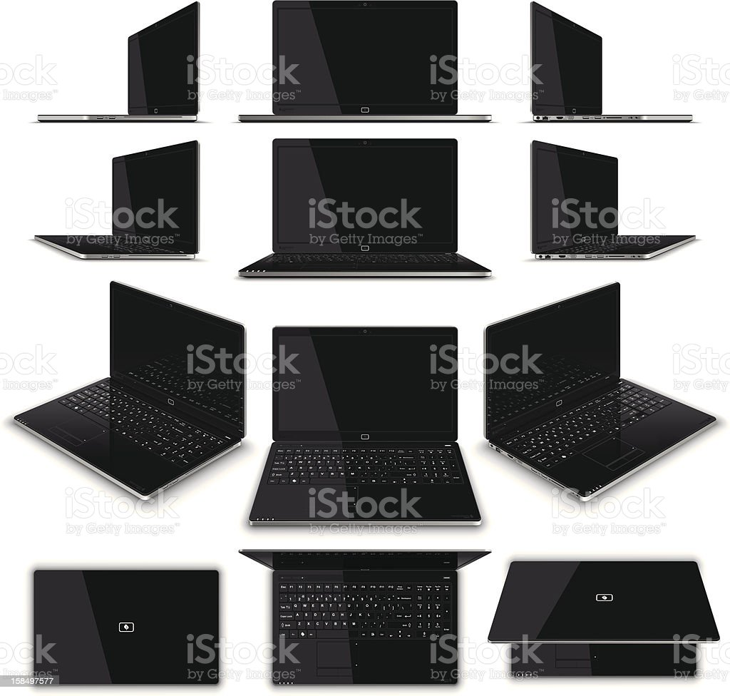 Laptop Multiple Views - High Detail royalty-free laptop multiple views high detail stock vector art & more images of aluminum