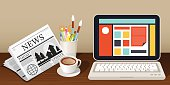 Laptop Newspaper Coffee Cup and Stationery Object