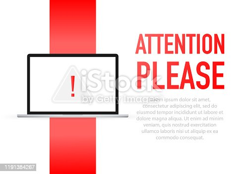 Laptop notebook computer screen. Hand holding megaphone. Attention please! text in speech bubble. Vector stock illustration.