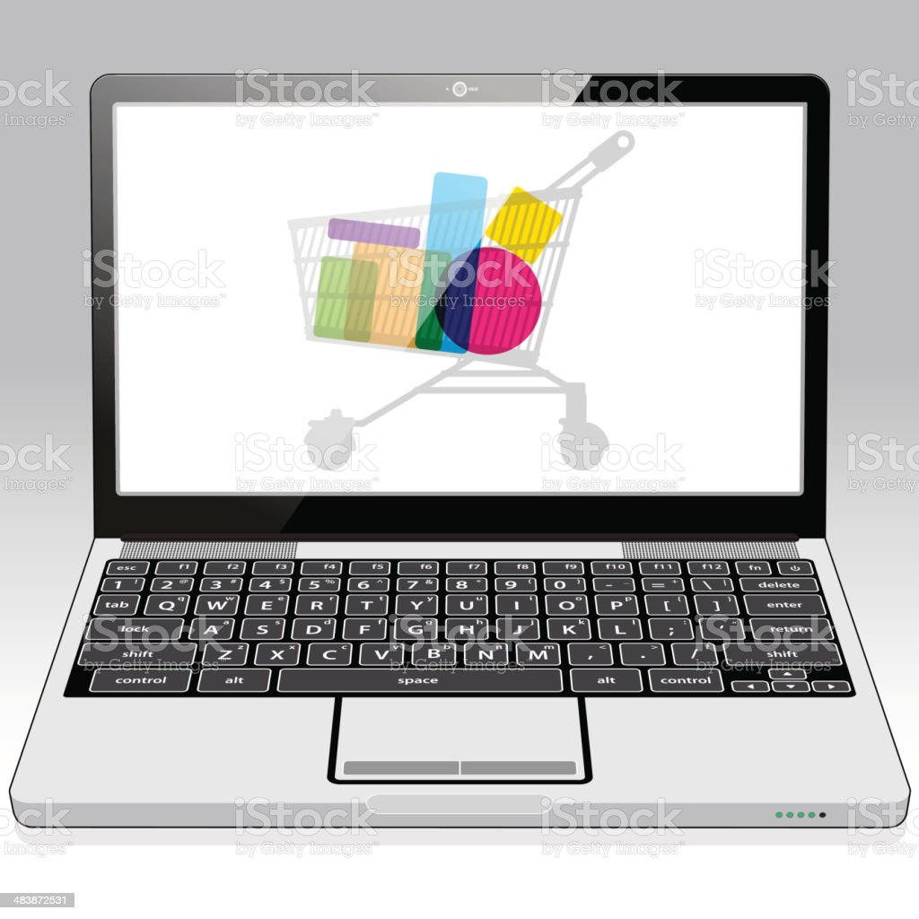 Laptop Online Retail Shopping royalty-free stock vector art