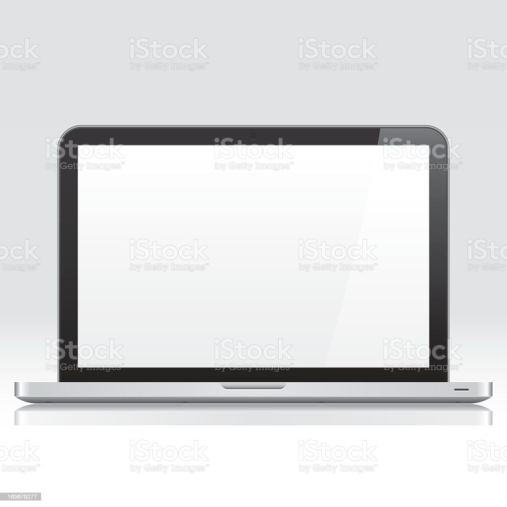 A laptop open to a blank page screen royalty-free stock vector art