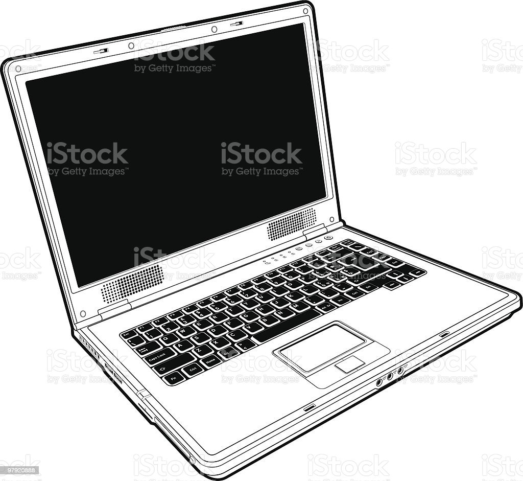 Laptop outline royalty-free laptop outline stock vector art & more images of color image