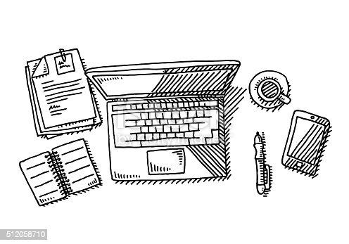 istock Laptop Overhead Desk Workplace Drawing 512058710