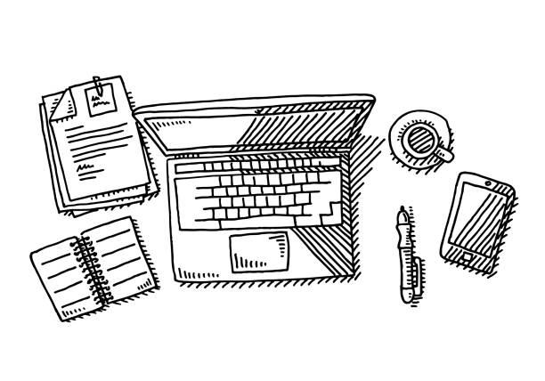 Laptop Overhead Desk Workplace Drawing Hand-drawn vector drawing of a Laptop on a Desk Workplace, Overhead View. Black-and-White sketch on a transparent background (.eps-file). Included files are EPS (v10) and Hi-Res JPG. business stock illustrations