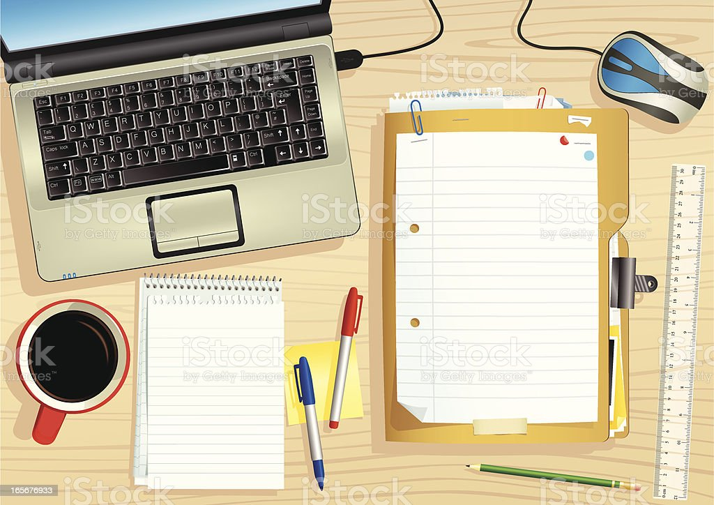 Laptop Pc And Office Desk With Document Files Stock