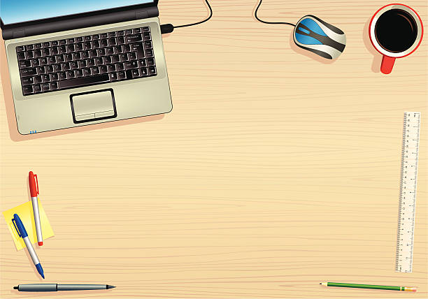 ... Laptop p.c. and wooden table surface vector art illustration ...