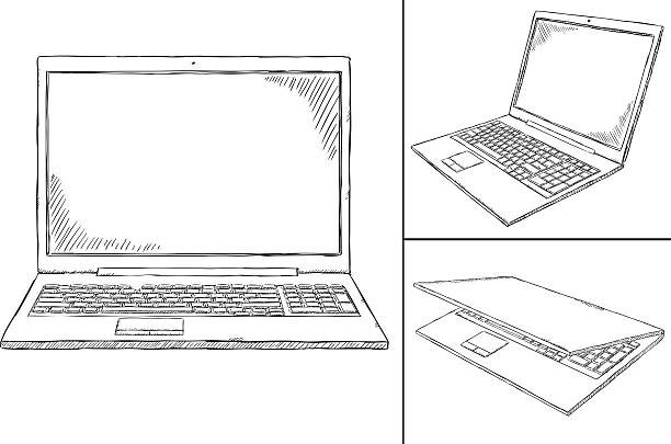 laptop PC doodle - 3 views Hand-drawn laptop doodle with transparent background. sketch stock illustrations
