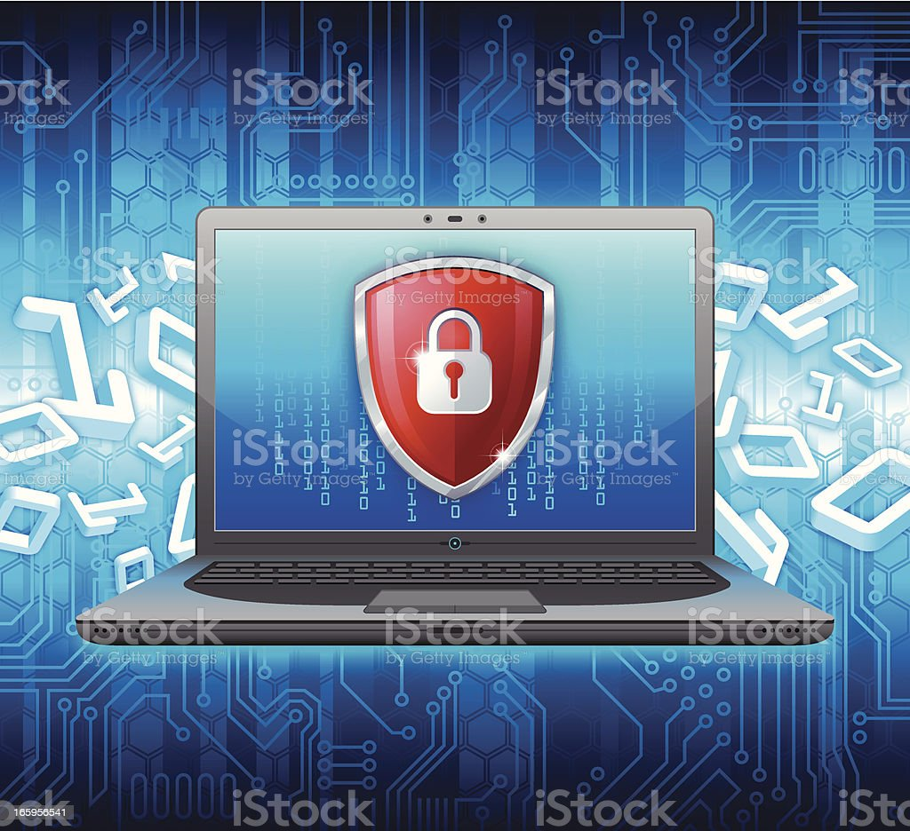 Laptop PC security concept royalty-free stock vector art