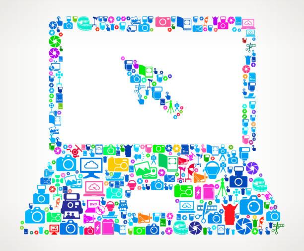 laptop-foto-kamera-fotografie-vektor-illustration - bildformate stock-grafiken, -clipart, -cartoons und -symbole
