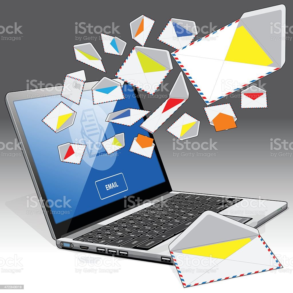 Laptop receiving and sending email - left side corner view royalty-free laptop receiving and sending email left side corner view stock vector art & more images of bluetooth