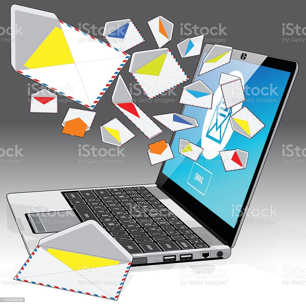 Laptop receiving email - right side corner view royalty-free stock vector art
