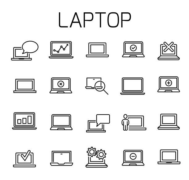 Laptop related vector icon set Laptop related vector icon set. Well-crafted sign in thin line style with editable stroke. Vector symbols isolated on a white background. Simple pictograms. ping pong table stock illustrations