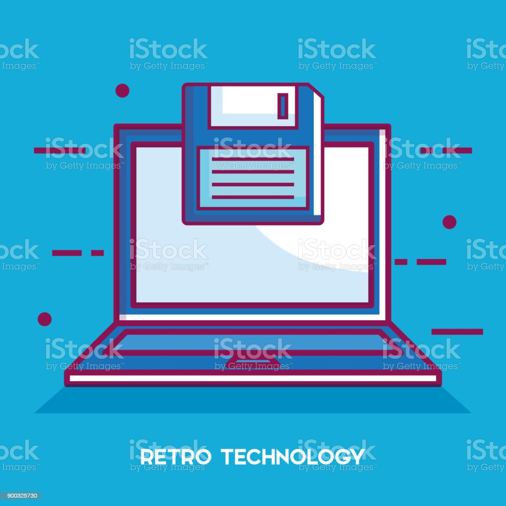 Laptop-Retro-Technologie-Symbol – Vektorgrafik