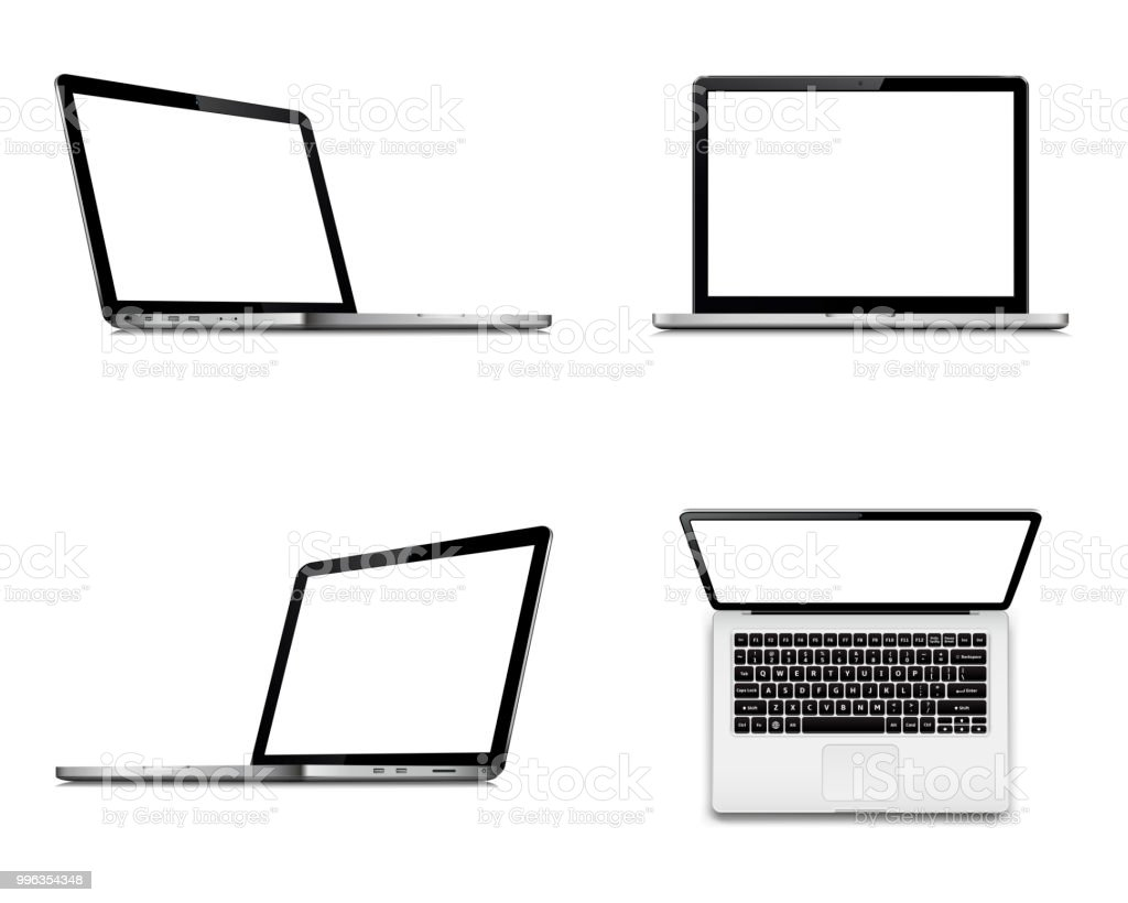 Laptop screen mockup with perspective, top and front view. Set of vector laptops with blank screen isolated on white background. vector art illustration