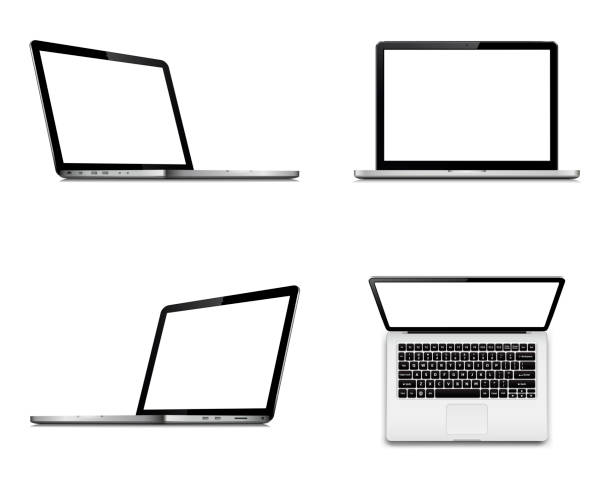 laptop screen mockup with perspective, top and front view. set of vector laptops with blank screen isolated on white background. - angle stock illustrations