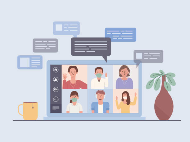 illustrazioni stock, clip art, cartoni animati e icone di tendenza di laptop screen show a video conference of a business team. people meeting online via the internet. new normal and new behavior of work at home. - new normal
