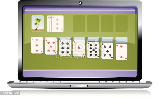 istock Laptop screen showing a running game of solitaire 455461335