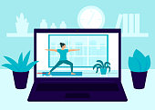 Laptop screen video of yoga exercise at home. Young woman workout, practicing yoga in room, relaxing exercise at home. Video online girl performs aerobics exercise and meditation at home. Vector