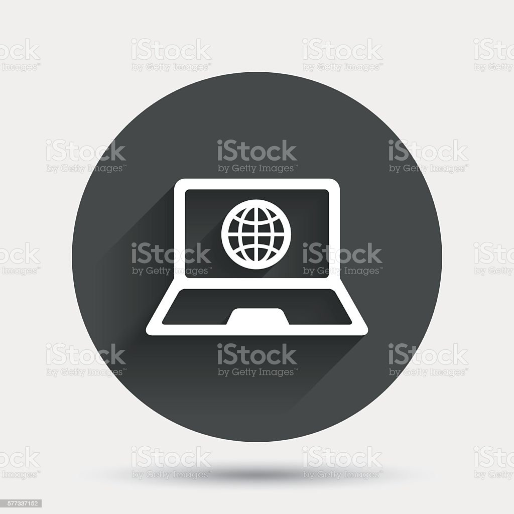 Laptop Sign Icon Notebook Pc With Globe Symbol Stock Vector Art