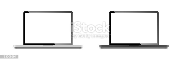 istock Laptop. Silver and Space gray Laptop with white Screen. Vector illustration 1332092941