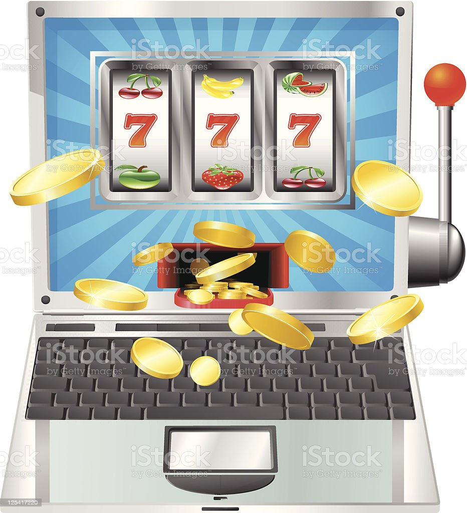 Laptop slot machine concept vector art illustration