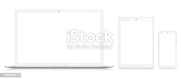 Laptop, Smart Phone and Digital Tablet Vector Ilustration