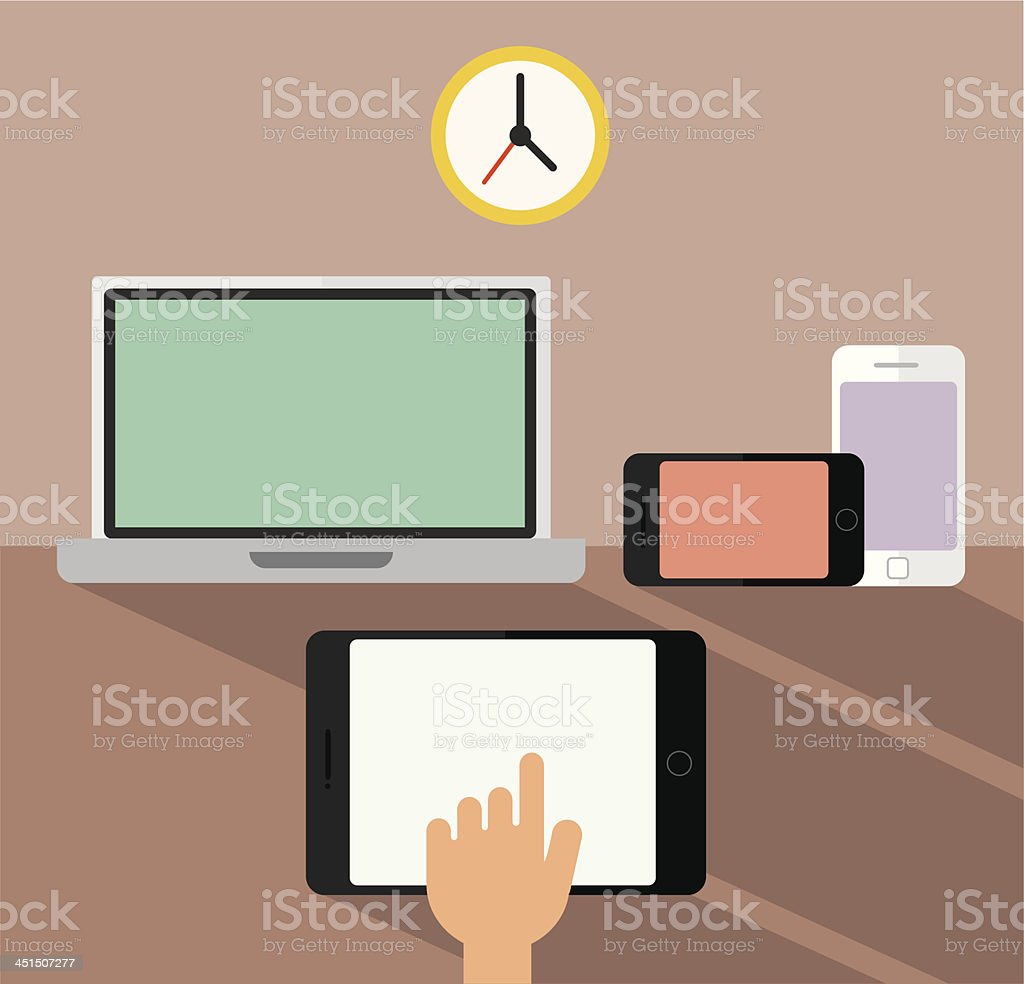 Laptop, smartphone and tablet devices vector art illustration