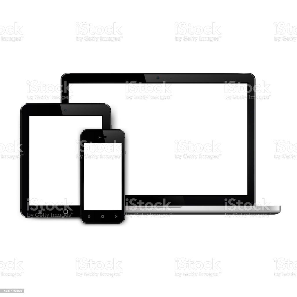 Laptop, smartphone and tablet mockup vector art illustration