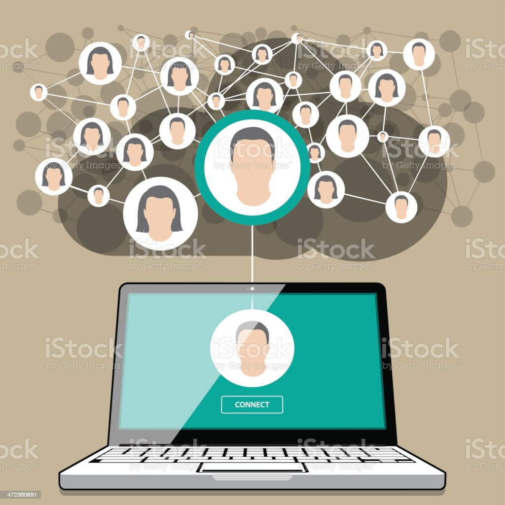 Laptop Social Networking royalty-free stock vector art