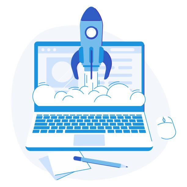 laptop starten. web-kreativ-strategie erfolg starten raketenlogo, business-lösungen flache vektorillustration - new work stock-grafiken, -clipart, -cartoons und -symbole