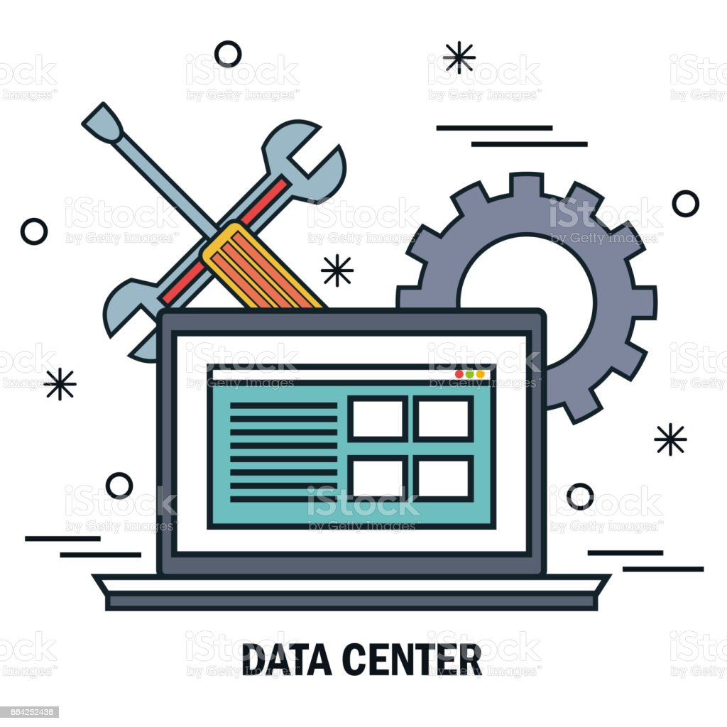 laptop support work data center server isolated royalty-free laptop support work data center server isolated stock vector art & more images of administrator