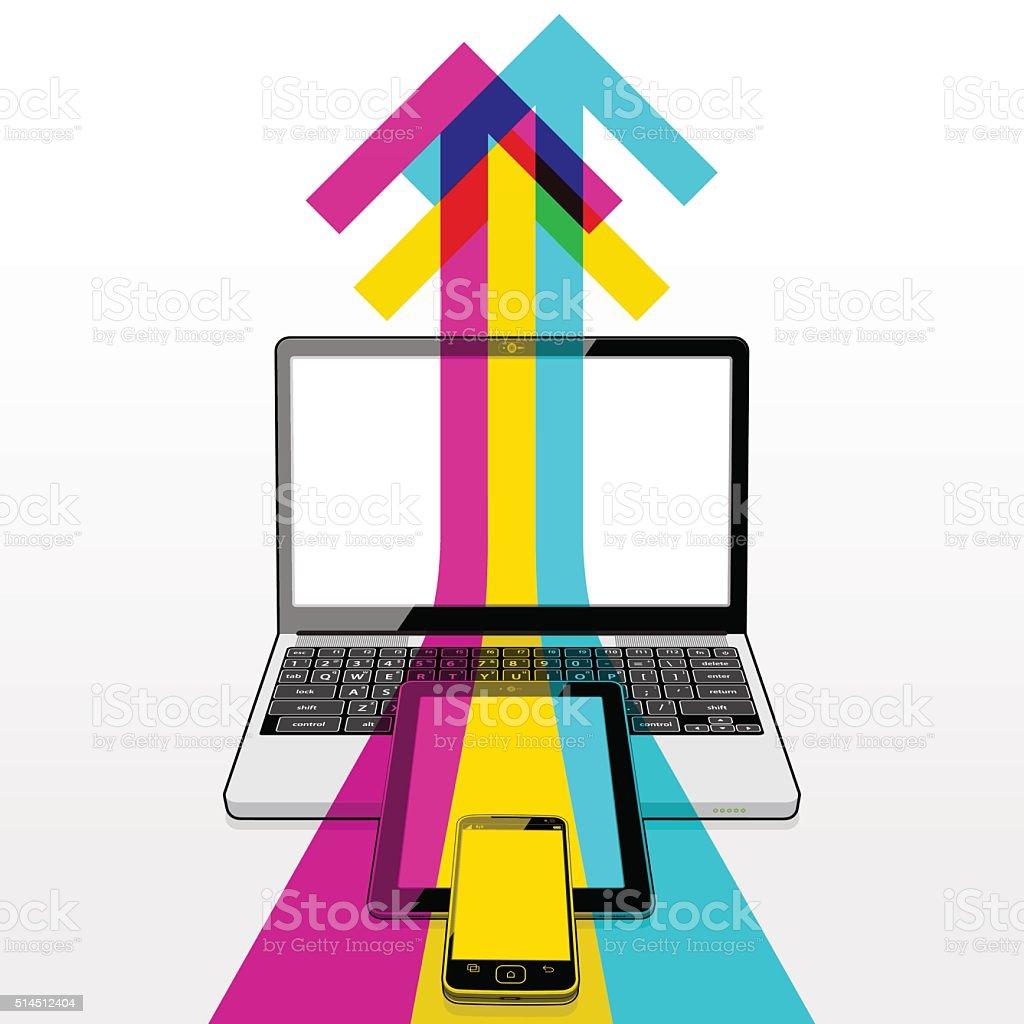 laptop tablet mobile phone data upload stock vector art 514512404