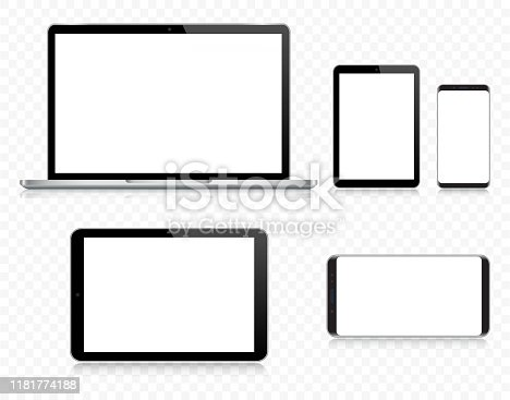 Vector Laptop, Tablet, Smartphone, Mobile Phone In Black And Silver Color With Reflection, Realistic Vector Illustration With Transparent Background