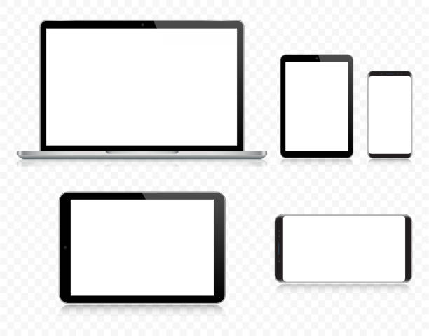 ilustraciones, imágenes clip art, dibujos animados e iconos de stock de portátil, tableta, teléfono inteligente, teléfono móvil en color negro y plata con reflexión, ilustración vectorial realista con fondo transparente - cristalino