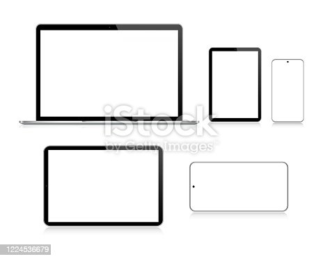 istock Laptop, Tablet, Smartphone, Mobile Phone In Black And Silver Color With Reflection, Realistic Vector Illustration 1224536679