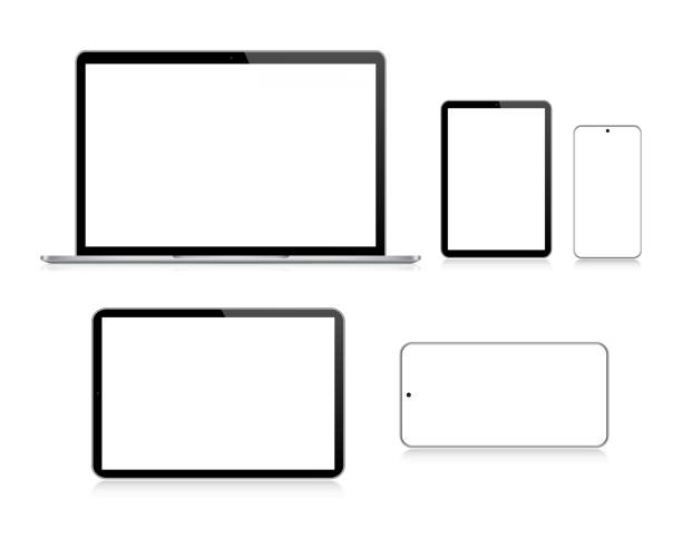 Laptop, Tablet, Smartphone, Mobile Phone In Black And Silver Color With Reflection, Realistic Vector Illustration Vector Laptop, Tablet, Smartphone, Mobile Phone In Black And Silver Color With Reflection, Realistic Vector Illustration ipad stock illustrations
