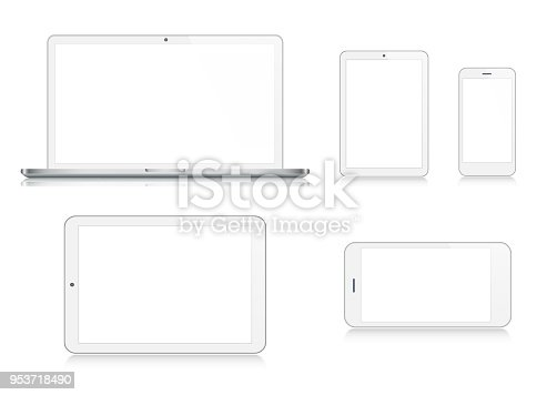 Vector Laptop, Tablet, Smartphone in Silver Color